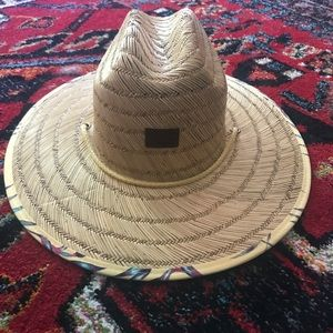 Roxy Straw Wide Brim Printed Hat NWOT